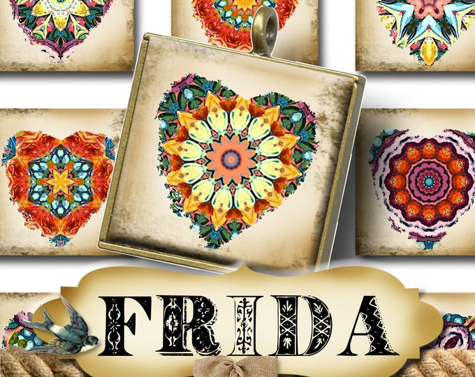 FRIDA•1x1 Square HEARTS Images•Printable Digital Images•Cards•Gift Tags•Stickers•Magnets•Digital Collage Sheet