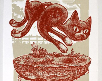 Twisted Cat - Original linocut print 2 colors on archival paper limited edition of 15