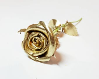 Gold miniature leaher rose ,Purple rose,red leather rose, mini stem rose, Wedding, 3rd Anniversary Gift -Sexy Flower Valentines Day