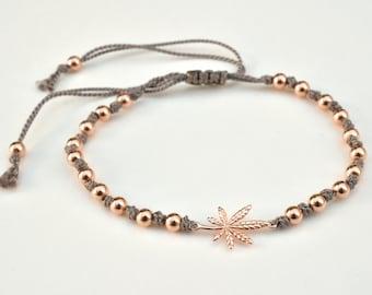 Rose gold marijuana cord bracelet - adjustable cannabis bracelet with 14K rose gold-filled beads- knotted bracelet - 420 bracelet