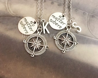 Compass Necklace Friendship Necklace Best Friend Necklace No Matter Where Friends Necklace bff necklace Initial Necklace