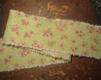 Tattered Tea Stained Fabric Ribbon Pink Dainty Tiny Rosebuds on Shabby Green  Rare fabric