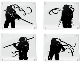 Teenage Mutant Ninja Turtles Leonardo Raphael Michelangelo Donatello TMNT leo raph mikey donnie silhouette art paper cut art FRAMED