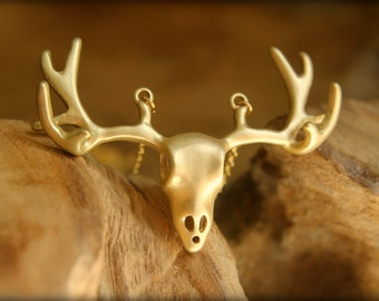 Buck Skull Necklace in Gold or Silver, Deer Head Elk Head Necklace, Rustic Hunter Nature Boho, Statement Jewelry