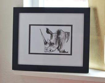 4x6 inches Print - Rhino in Ink - African Animal - Safari Art -