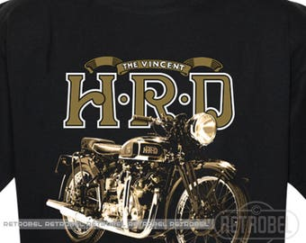 T-Shirt Vincent HRD men's motorcycle tee Classic Retro Mens T-Shirt Bikers Gift Motorcycles Tee 100% Cotton Graphic Tee,
