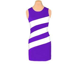 Purple + White Diagonal Stripe Dress