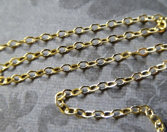 Wholesale GOLD Chain, 2X1.5 mm, 5-100 ft, Flat Cable Chain / 18k Gold Plated over Sterling Silver, jewelry making finding ss V88