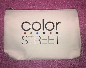 White Color Street Canvas Bag with Rinestones