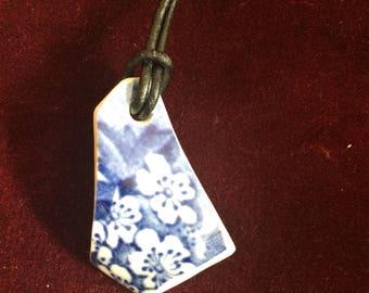 Vintage blue floral Thames foreshore pottery shard pendant