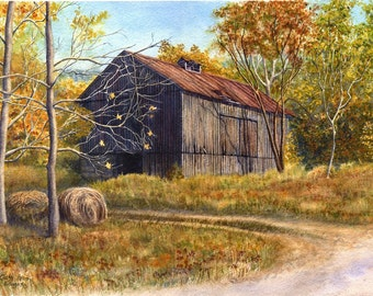 Barn Landscape Painting Print, watercolor by Cathy Hillegas, 11x14, watercolor landscape, autumn landscape, autumn colors, watercolor print