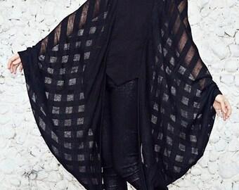 Batwing Top, Black Sheer Blouse, Black Wing Sleeve Blouse, Batwing Winter Blouse TT106, Black Loose Blouse by TEYXO