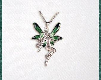 Emerald green Fairy, elf, pendant necklace