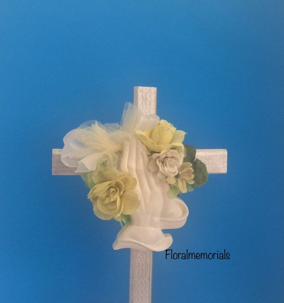 Cemetery marker, Cemetery flowers, flowers for grave, grave decoration, memorial cross