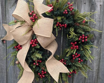 Christmas Wreath Wreath Burlap Wreath Burlap Christmas and Winter Wreath, Woodland Wreath, Natural Christmas Decor