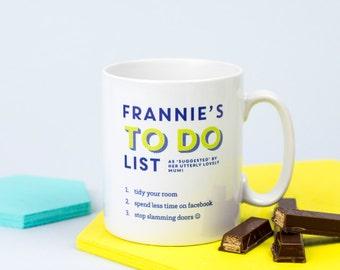 To Do List Cup - To Do List Mug - Personalized Mug - Personalized Cup - Personalized Coffee Cup - Personalized To Do List - Daily Agenda Cup