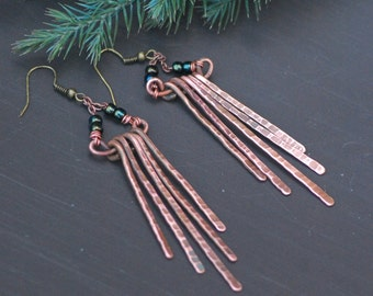 Copper earrings Handmade Copper Jewelry Wire wrapped Earrings handmade looking Copper Oxidized Copper Wire Earrings Wire Wrapped Earrings