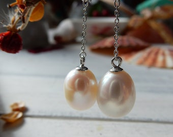 Pearl Chain Earrings | Silver Drop Earrings with White Pearl| Long Earrings | Teardrop | White Pearl | Ready to ship
