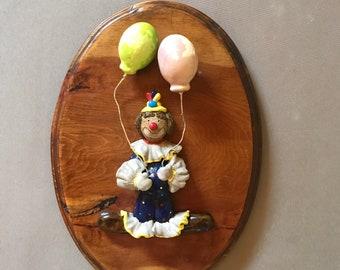 Teresa Thompson Vintage Ceramic clown wood plaque