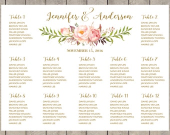 PRINTABLE Wedding Seating Chart Template,Boho Wedding Table seating assignment,table plans watercolor,Editable Text Instant Download PDF183W