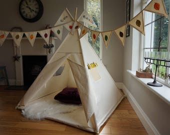 Kids Teepee, Play tent, Wigwam, Childs Tipi. Indoor Tent, Play teepee. White tent reading nook for children. All full length poles included!