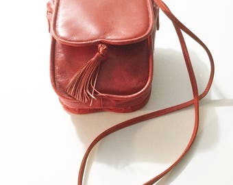 Leather handbag, leather purse, red leather purse, vtg Jordan Marsh, vtg red purse, red leather bag