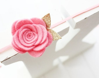 Felt Rose headband- Pink - Felt flower headband- Baby girl headband-Gift-Girl headband -Hair accessory -Toddler headband- Babyshower gift