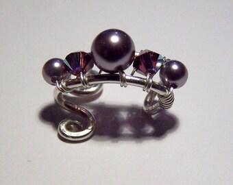 Prom Jewelry Sterling Silver Ear Cuffs with Pearls Body Jewelry Swarovski Crystals Wedding Ear Cuff