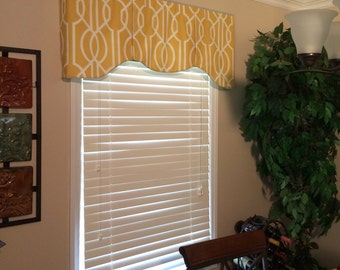 "Custom Window Valance ASHLEY Hidden Rod Pocket® Valance to fit 45""- 60"" window, Your fabrics, my LABOR and lining"