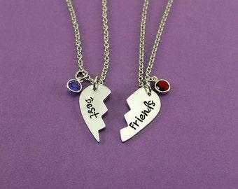 Best Friends Necklace Set with Birthstones - Personalized Best Friend Broken Heart Necklace Set - Gift for Best Friend - Birthday Gift