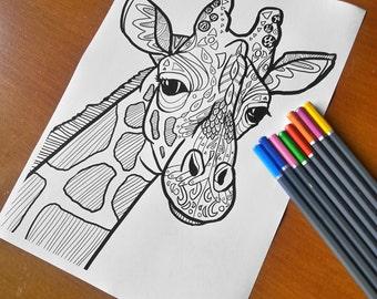 Adult Zentangle Coloring Sheet Giraffe