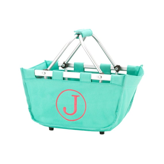 mint  mini Market tote picnic basket tote monogram basket tote personalized tote bag tailgate tote bag college dorm shower caddy basket