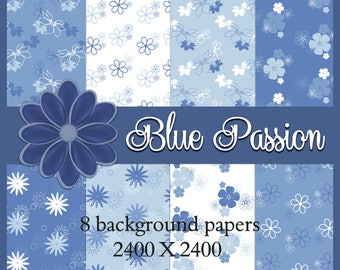 Blue Passion Papers - Digital Background Paper Images for Scrapbook & Paper Crafts