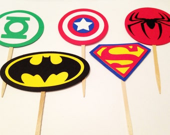 12 Superman Cupcake Toppers, Super Hero party, Superman Party, Birthday party, Food Picks