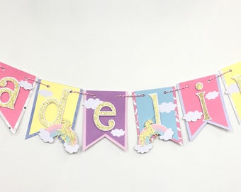 Unicorn name banner, rainbow name banner, unicorn birthday banner, unicorn party decorations