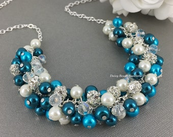 Teal Turquoise Cluster Necklace Teal Necklace Bridesmaid Necklace Turquoise Necklace Bridesmaid Gift on a Budget Teal Pearl Necklace