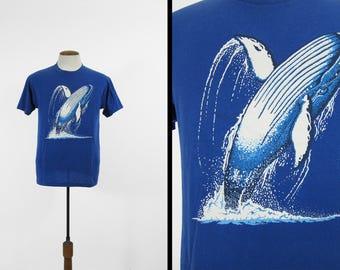 Vintage Humpback Whale T-shirt 80s Blue Ocean Whale Jump 5050 Tee - Medium