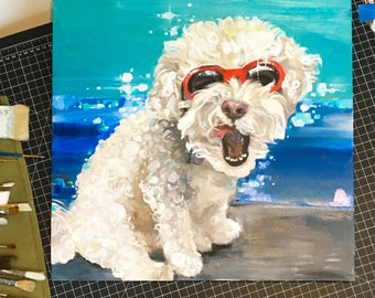 "By commission only: Pet portrait, oil or acrylic on canvas, this example is 18x18"" (Do not purchase this example. Message me.)"