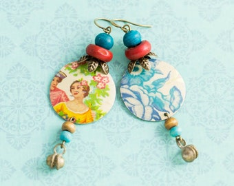 Shabby Gypsy Earrings with Vintage Tin, Clapper Bells and Vintage Wood Beads, Gypsy Jewelry, Mismatched Earrings