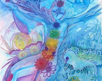 Fantasy image.Healing art.Womanhood art.Chakras art.Nature art.Whimsical art.Naive art.figurative art.Women art.Watercolors.colorfull art