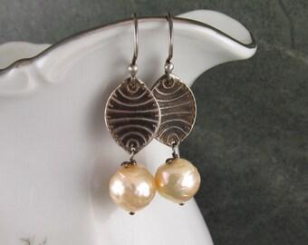 Peach pearl earrings, handmade eco friendly fine silver earrings-OOAK