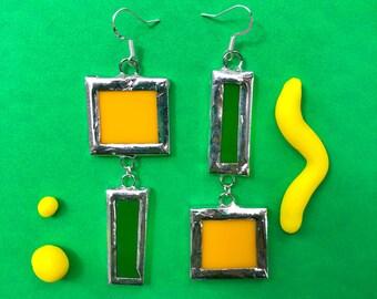Stained Glass Lemon Lime Earrings