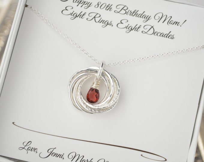 80th Birthday gift for mom and grandma, Garnet birthstone necklace, January birthstone, Gifts for mother, 8th Anniversary gift, 8 Rings neck
