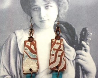 EARRINGS - One of a Kind Tumbled Earthenware Combed Shards, Accents of Catfish Studio Beach Glass Squares, Niobium Ear Wires