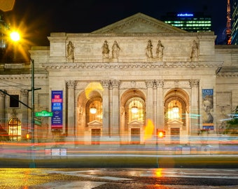 New York Public Library, New York City, New York, Long Exposure, Night Photography, Fine Art Photography