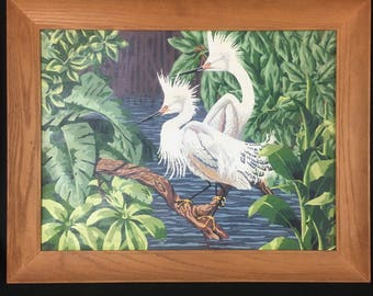Vintage Paint By Number 18x24 Painting White Crane Bird Stork Tropical Framed
