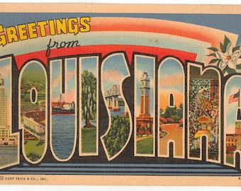 Linen Postcard, Greetings from Louisiana, Capitol, Stadium, Large Letter, 1948