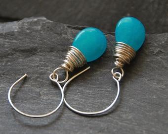 Personalized birthday gift, Silver hoop earrings, Wire wrapped Jade earrings, Ocean blue teardrop earrings, Bridesmaid gift, 1153-8