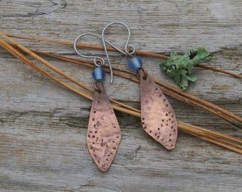 Dragonfly Wing Earrings, Hammered Copper, Lilac Glass Bead Earrings, Wing, Leaf Earrings, Metal Work, Hypo Allergenic