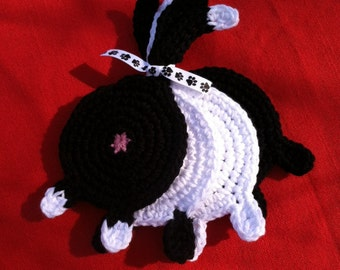 Set of 4 black and white cats crochet cotton Cat Butt Coasters Cat Lady Humor kitty bums black white tuxedo siamese